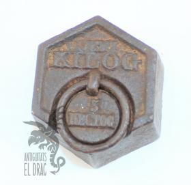 Antiguo peso de hierro hexagonal 500 gr